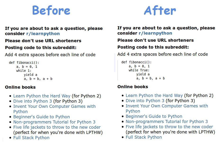 Improving the sidebar of /r/python   Python Adventures